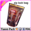 Yason logo plastic bag shinning black yellow white gold ziplock standup bottom gusset snack food aluminum foil ziplock bags