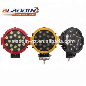 7inch 51W Round Led Work LightSuper bright 6000k yellow black red 12v /24v led car lights 51w offroad Led Work Light