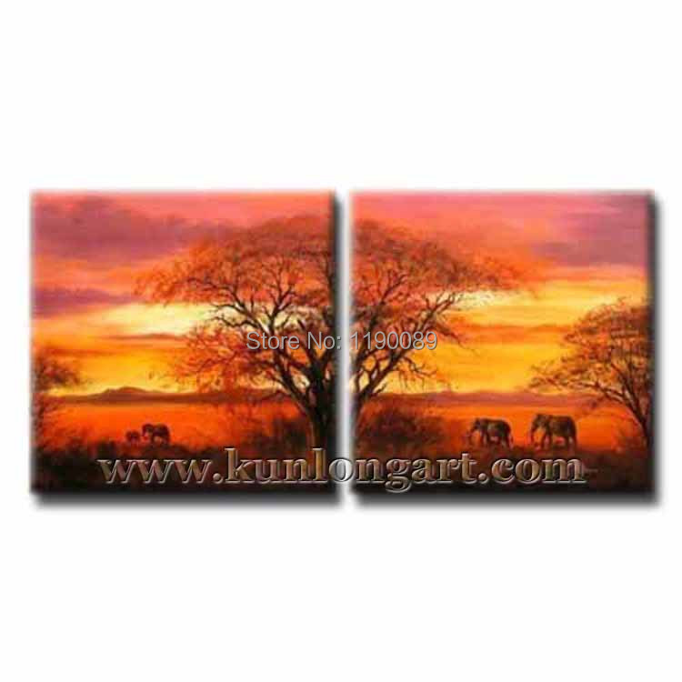 Free Shipping Unframed 100% Handmade Landscape Painting On Canvas Modern Scenery Oil Painting 2 panels Wall Art Home Decoration