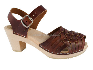 9046dd6e1de02 Original Swedish Clogs high-heeled sandal brown