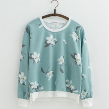 Hot sell Orchid Flowers Print Sweatshirts for Women sweatshirt Loose Cotton Hoodies O-neck Pullovers Female 22 Color
