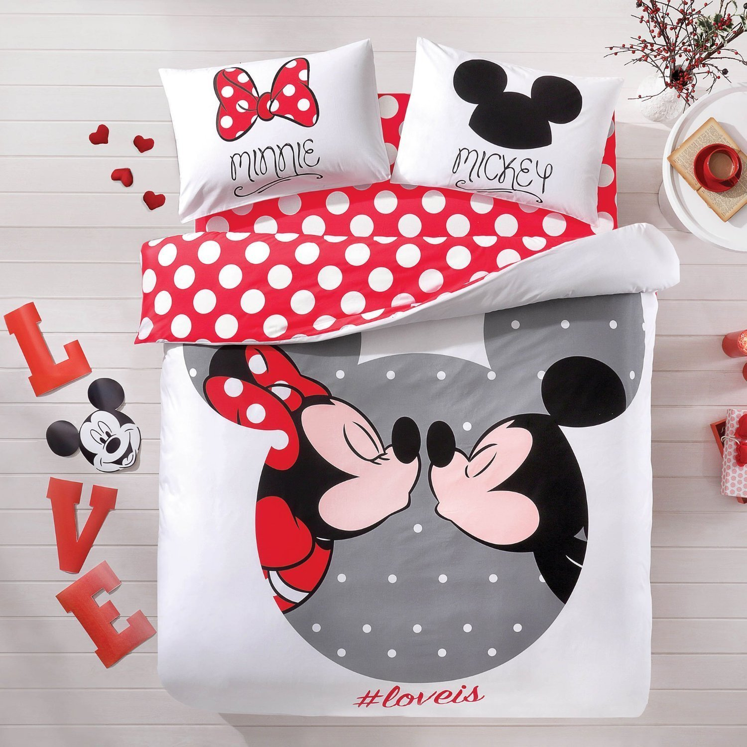 Licensed 100% Cotton Disney Mickey & Minnie Love Comforter Set 5 PCS Queen Size / Mickey & Minnie Mouse Double Comforter Set / Disneyland Queen Bedding Set