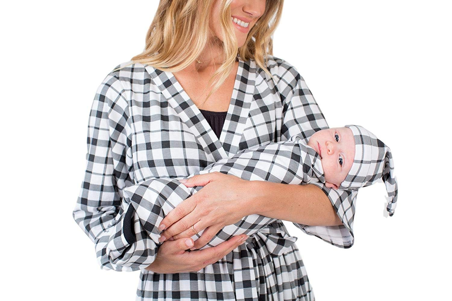 133ef901738da Get Quotations · Matching Maternity/Delivery Robe Baby Swaddle Set, Mom Baby