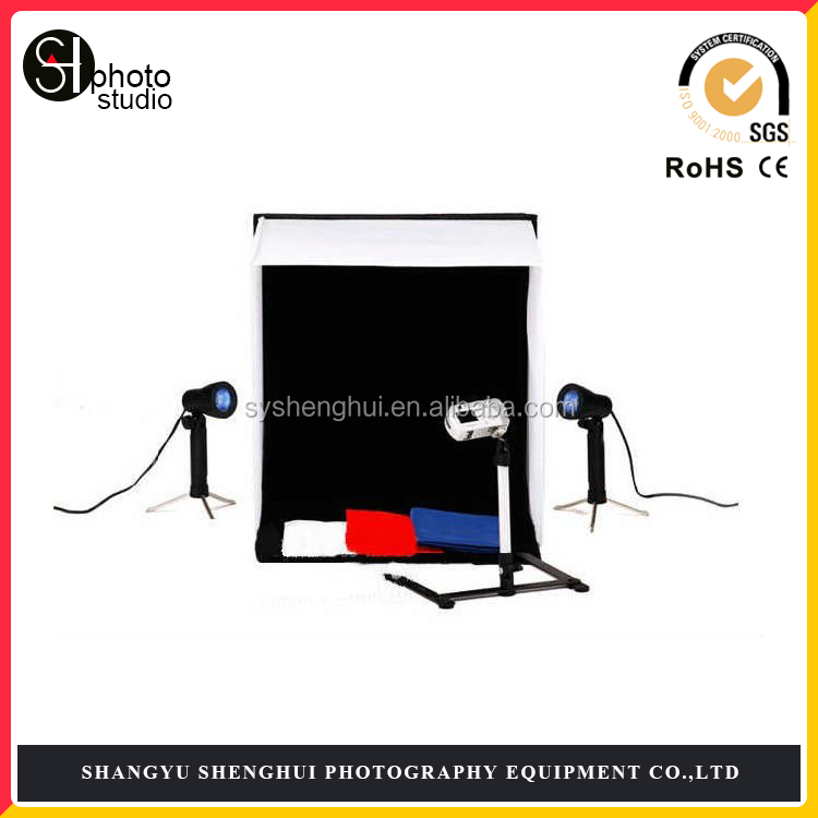 "Photography 24"" Light Box Portable Photo Tent 4 Lighting Stand with Tripod Set"