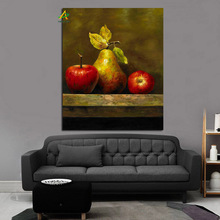 High quality digital fruit canvas painting apple and pear oil painting framed for living room