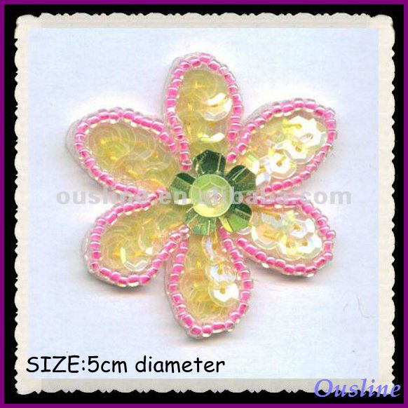 lovely mini sequin bead sun flower applique patterns