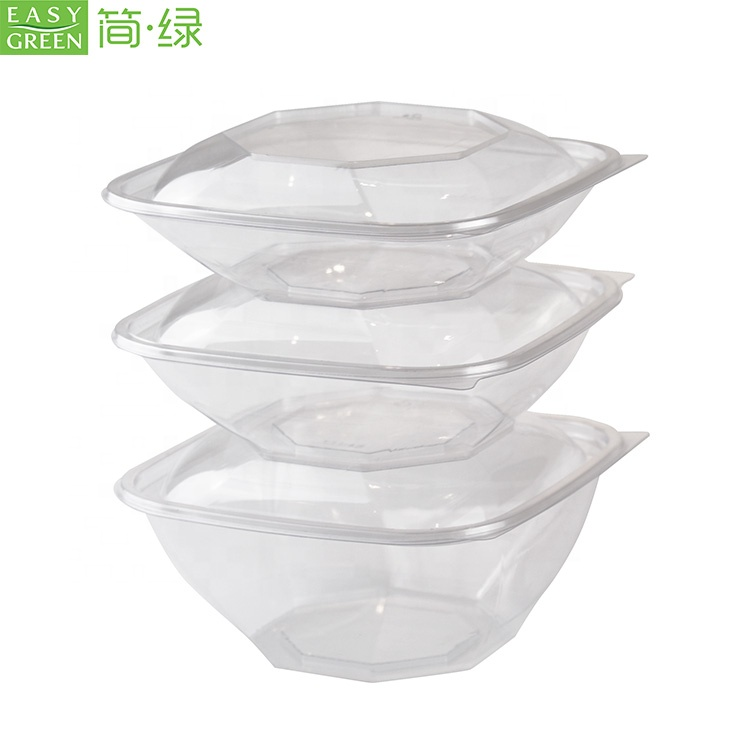 Easy Green disposable PLA take away to go container transparent 32oz bowl