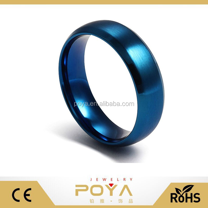 POYA Jewelry 8mm Men's Blue Tungsten Carbide Wedding Band Ring,Domed ,Brushed,Beveled