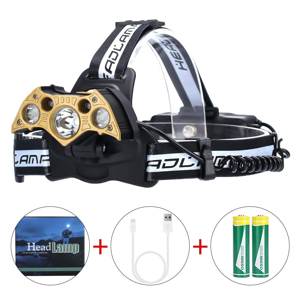 LED Headlamp High Power 6Modes Super Bright Bat-shaped Headlights Adjustable Rechargeable Batteries for Camping Hiking Fishing Running Cycling Reading, USB Headlamps T6 Head Light 6000 Lumen (5LED)