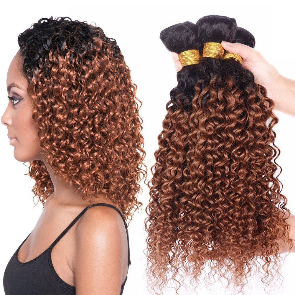 Buy Black Rose Hair 7a Two Tone Jerry Curl Ombre Hair Weaves Brown