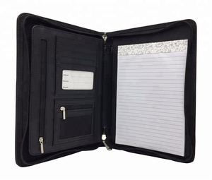 Professional Black PU Leather Portfolio Binder & Organizer Folder with 8 Inch Tablet Sleeve