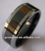 Simple design men's tungsten and ceramic combination ring,ring setting without stones