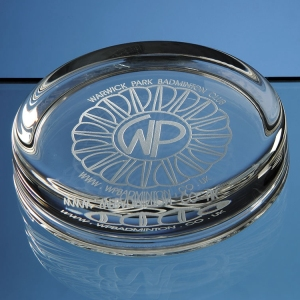 Logo engraved round glass paperweight