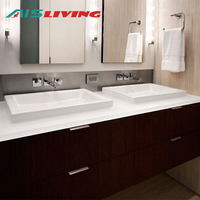 Flat pack wall hung melamine dual sink bathroom vanity