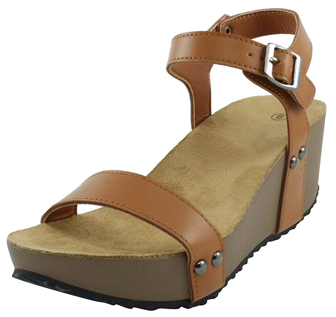 8a0e4e327ff Get Quotations · Cambridge Select Women s Open Toe Strappy Ankle Studded  Buckle Platform Wedge Sandal
