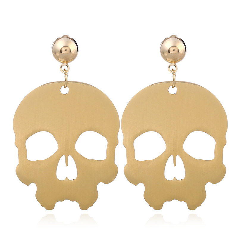 EH0541 JN Wholesale geometric vintage geometry big skull gold earrings women