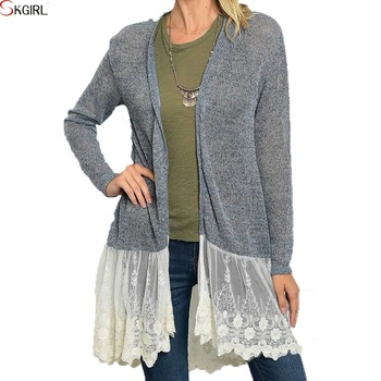 Gypsy Peasant Boho Crochet Knitted Lace Long Sleeve Cardigans