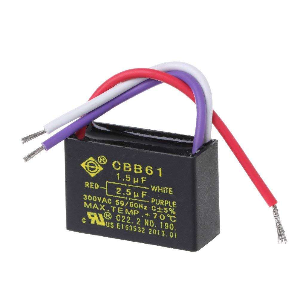 Goodqueen Black CBB61 1.5uF+2.5uF 3 Wires AC 250V 50/60Hz Capacitor For Ceiling Fan