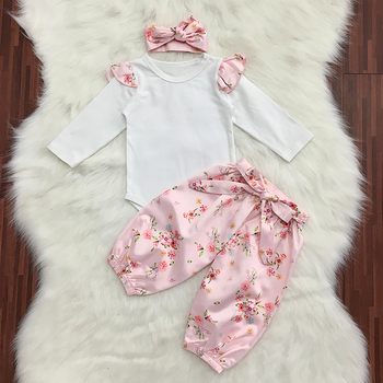 f7e6f64d8664 3pcs Infant Baby Girls Long Sleeve Floral Romper With Pants + ...