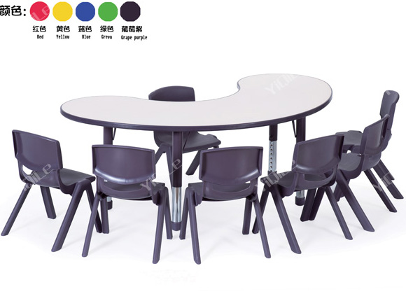 New Design Plastic Half Moon Table Fashionable Purple Kids Table Cheap Used Daycare Furniture