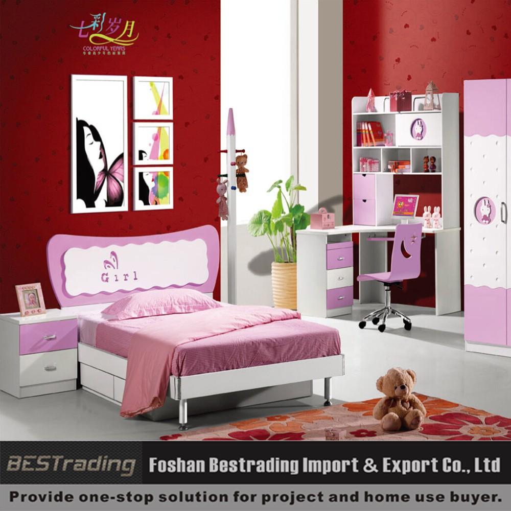 Rose enfants ensemble de lit filles moderne mobilier de chambre ...