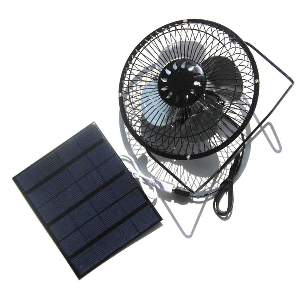 VORCOOL USB Fan Solar Powered 360 Degree Rotation Desktop Fan Outdoor Home Chicken Coop Greenhouse Cooling Ventilation System,3.5W 6Inch