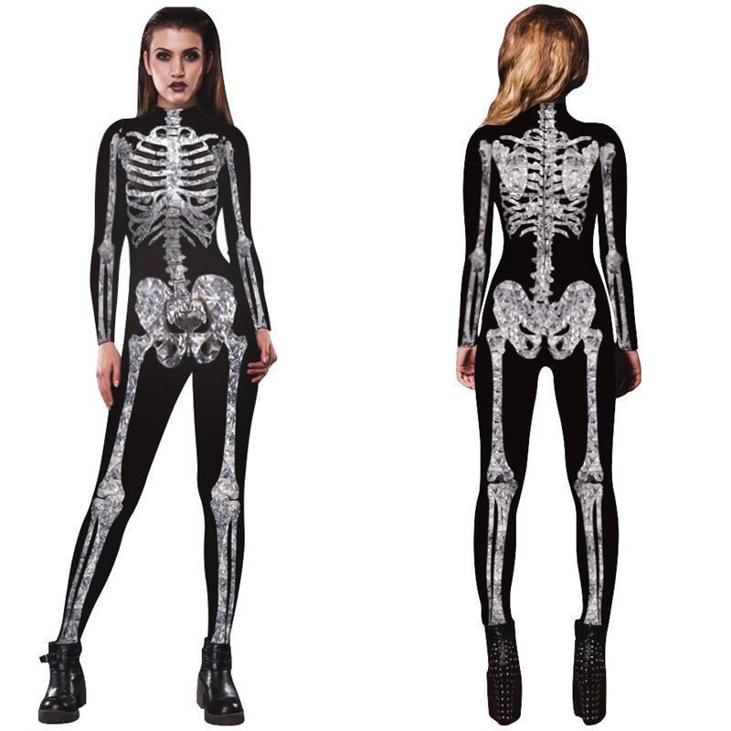 Neue Mode Frauen Halloween Kostüm Party Phantasie Skeleton Overall