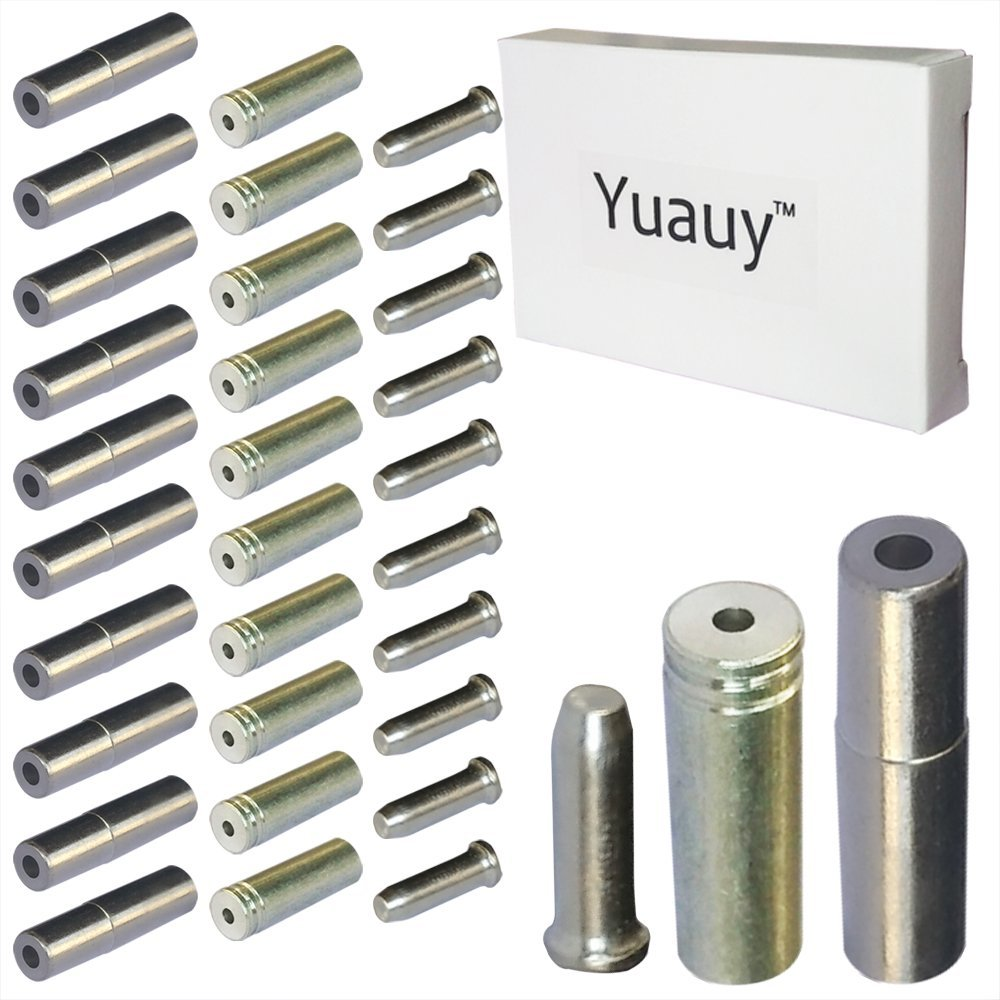 Yuauy (Total 30 PCS) 10 PCs 5mm Silver Alloy Road Mountain Bicycle Bike Brake Cable Tips Caps End Crimp + 10 PCs 4mm Shift Derailleur Cable Tips End + 10 PCs Cable End Crimps