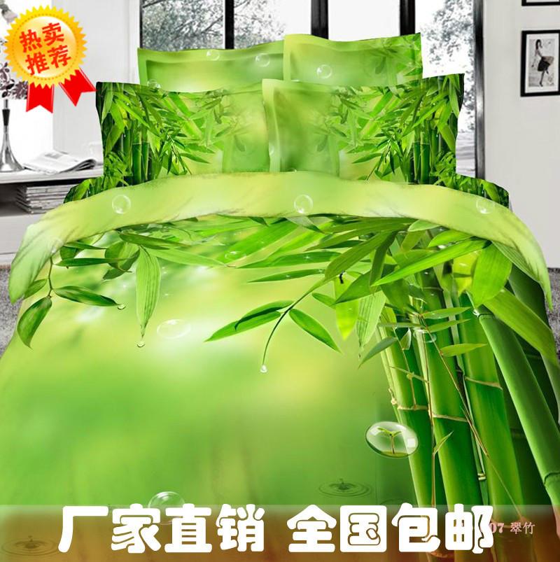 bambou impression vert ensemble de literie reine roi taille housse de couette de soie bedsets. Black Bedroom Furniture Sets. Home Design Ideas