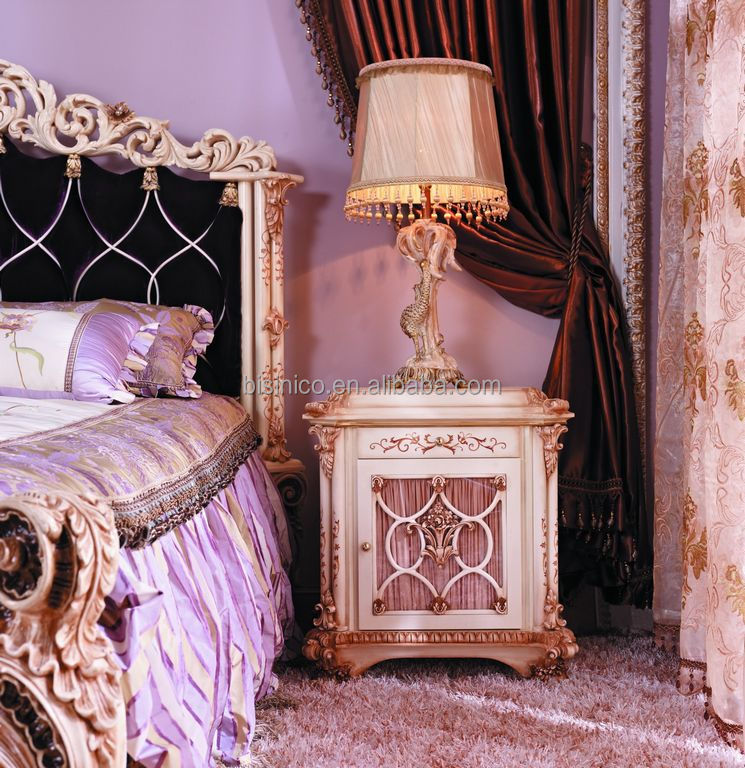 French Baroque Luxury Exquisite Carved Bedside Table/French Castle ...