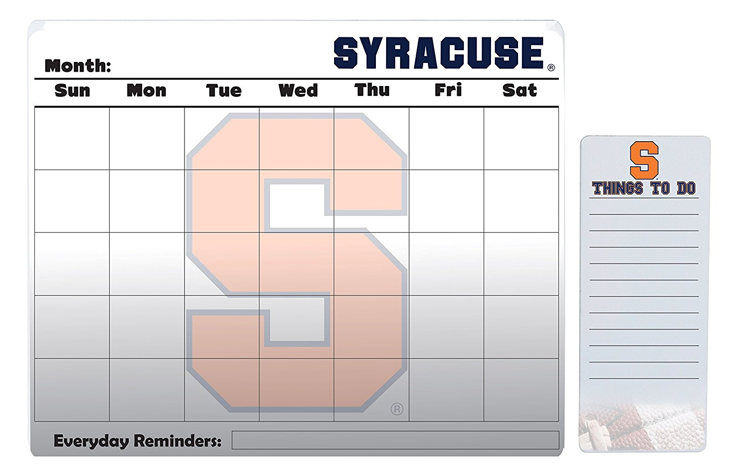 "Syracuse Orange 16"" x 20"" Dry Erase Calendar Peel and Stick and 4"" x 10"" Dry Erase Board Peel and Stick"