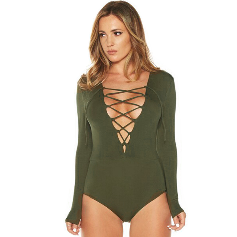 Detail Feedback Questions about 2019 New Sexy Women Short Bodysuit Plunge  Neck Lace Up Tie Front Stretch Playsuit Leotard Jumpsuit Overalls Hot Sale  Catsuit ... 97314112b