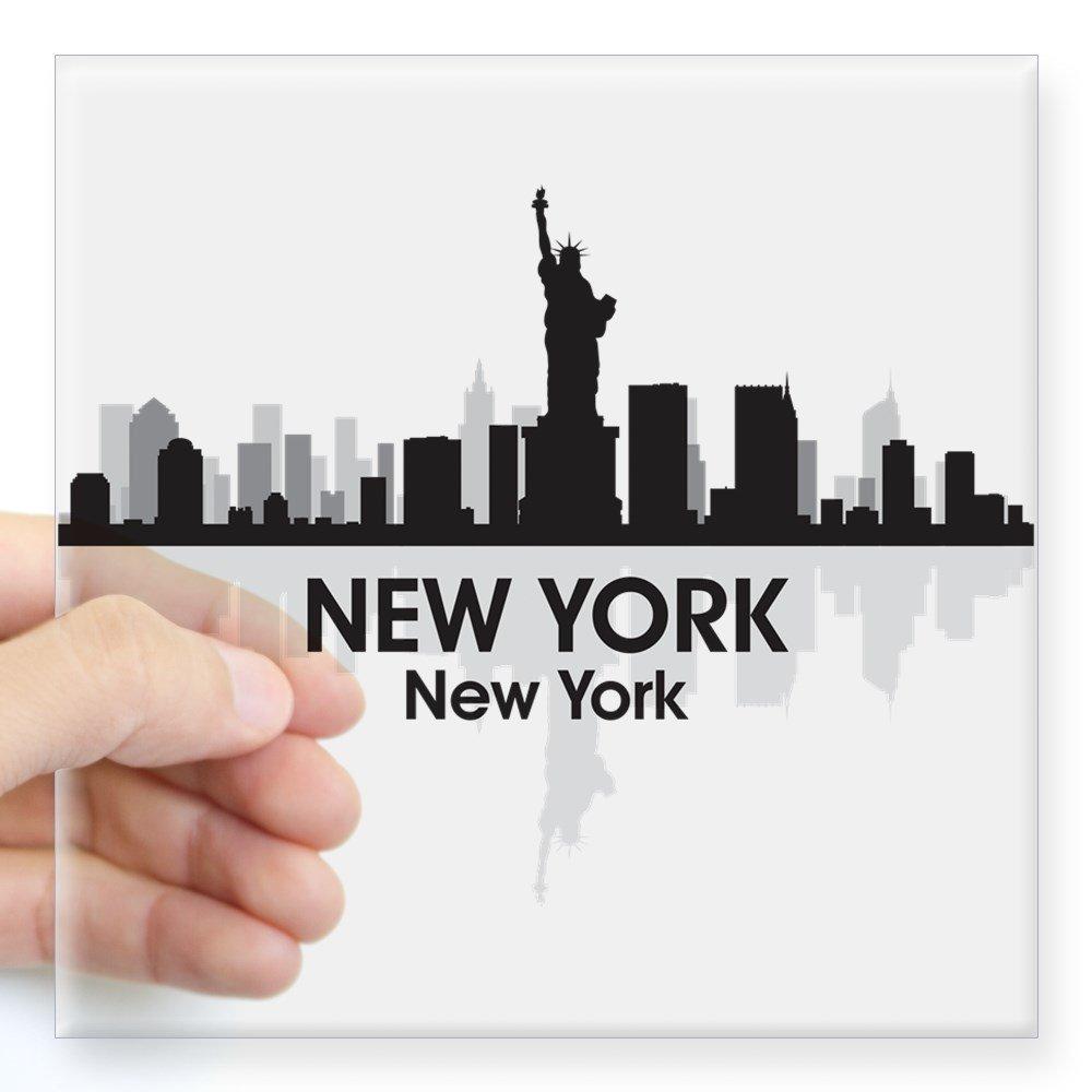 "CafePress - New York Skyline Square Sticker 3"" X 3 - Square Bumper Sticker Car Decal, 3""x3"" (Small) or 5""x5"" (Large)"
