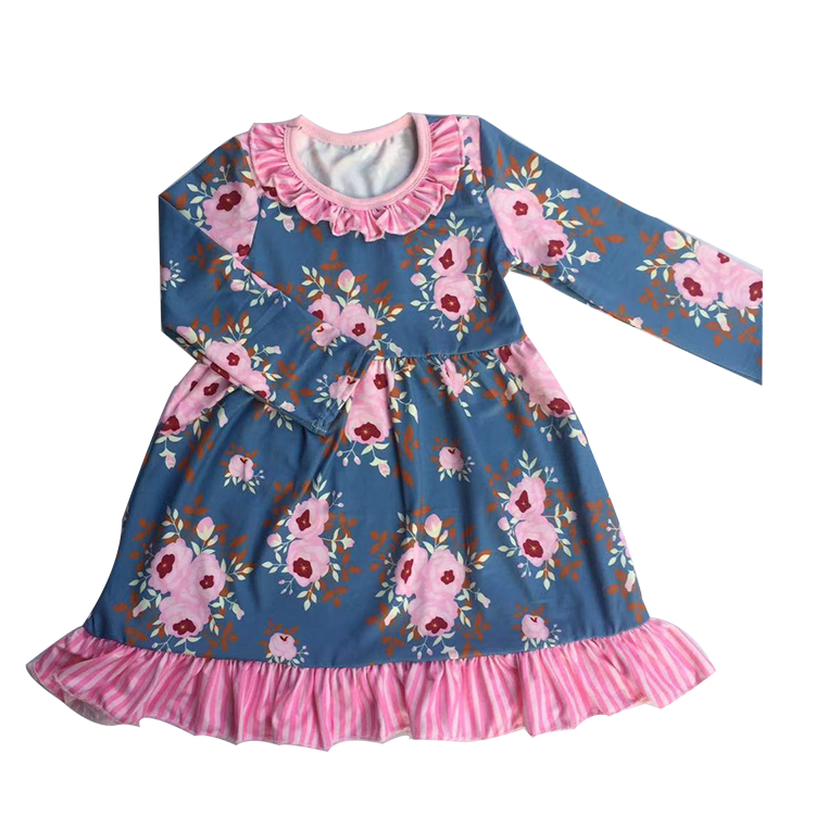 High quality kids boutique flutter sleeve clothing children ruffle dress