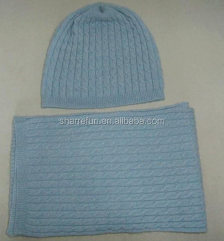 8a5708bca14 12gg Cable Knitted 100% Pure Cashmere Wholesale Hat Scarf Sets - Buy ...