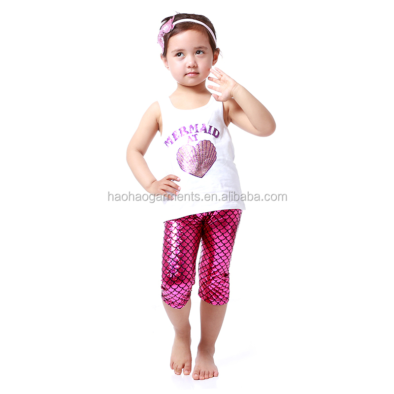 Kids Boutique Clothing White Tank Top With Capris Sets Wholesale 1-15Years Old Girls Summer Mermaid Outfits