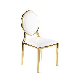 Wholesales round back stainless gold event wedding metal louis chair