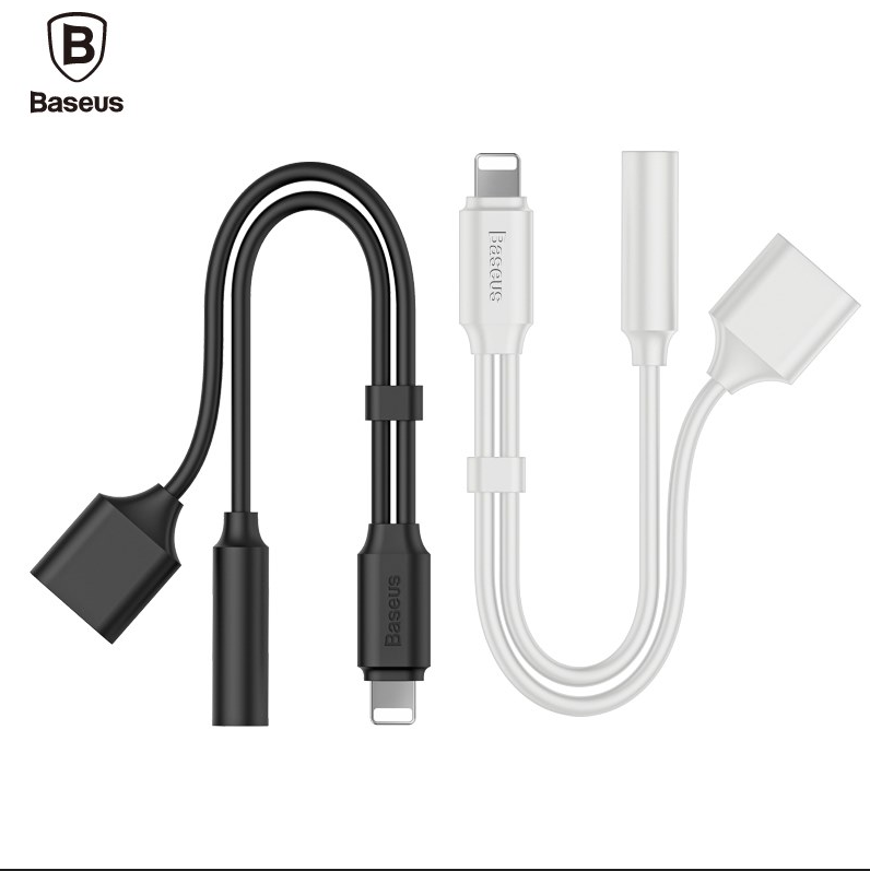 Baseus L35 Multifunctional for Apple Male to 3.5mm Jack + Female Earphone Headphone Mic Audio 2 in 1 Adapter Line Cable