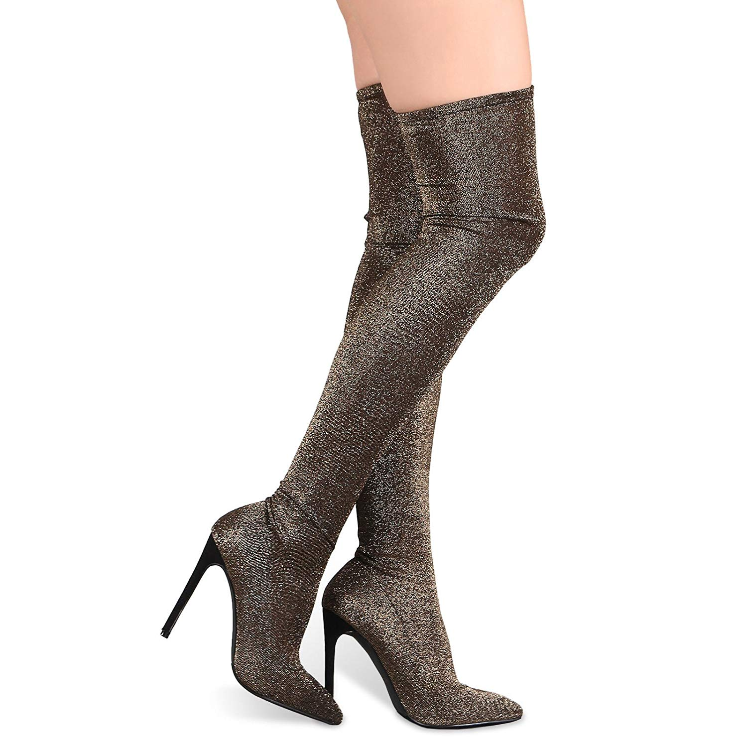 267fc7880d0 Get Quotations · Liliana Thigh High Boots w Stretchy Glitter Knit Pointy  Toe Stiletto Bootie Xaya11