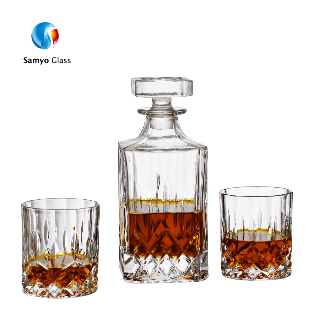 Groothandel barbenodigdheden diamant whiskey decanter en glas set