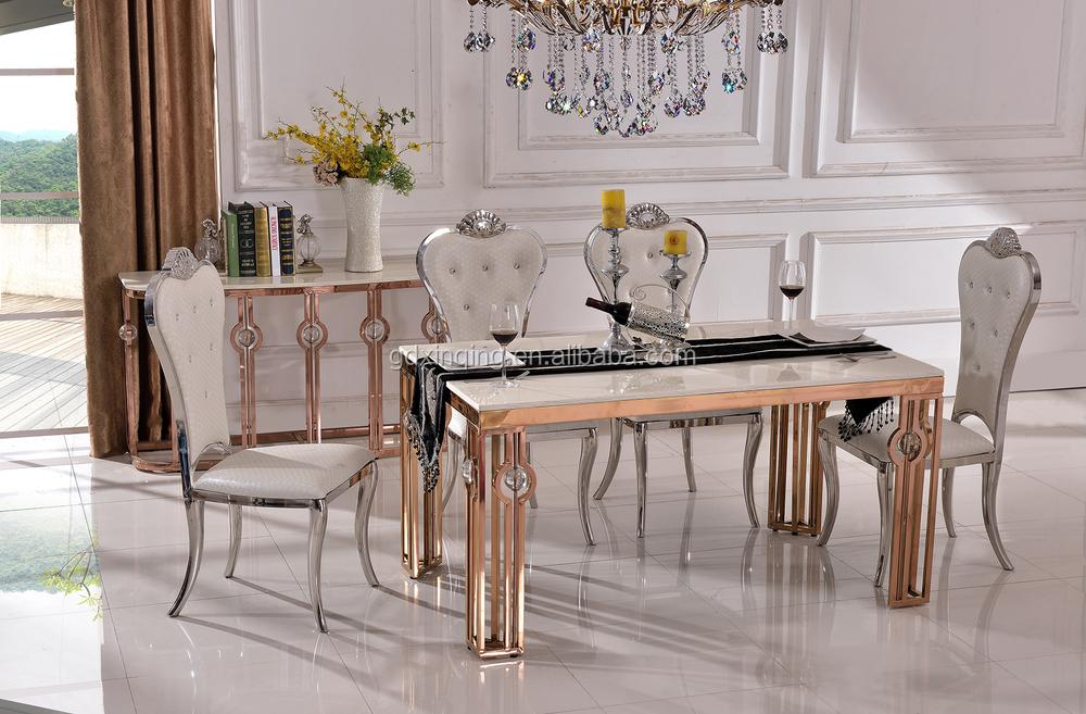Vendita calda in acciaio inox th366 marmo moderno set tavolo da