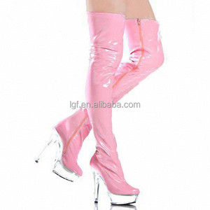Extreme fashion high heel party go-go boots Sexy Patent Lace-up Platform fetish latex boots