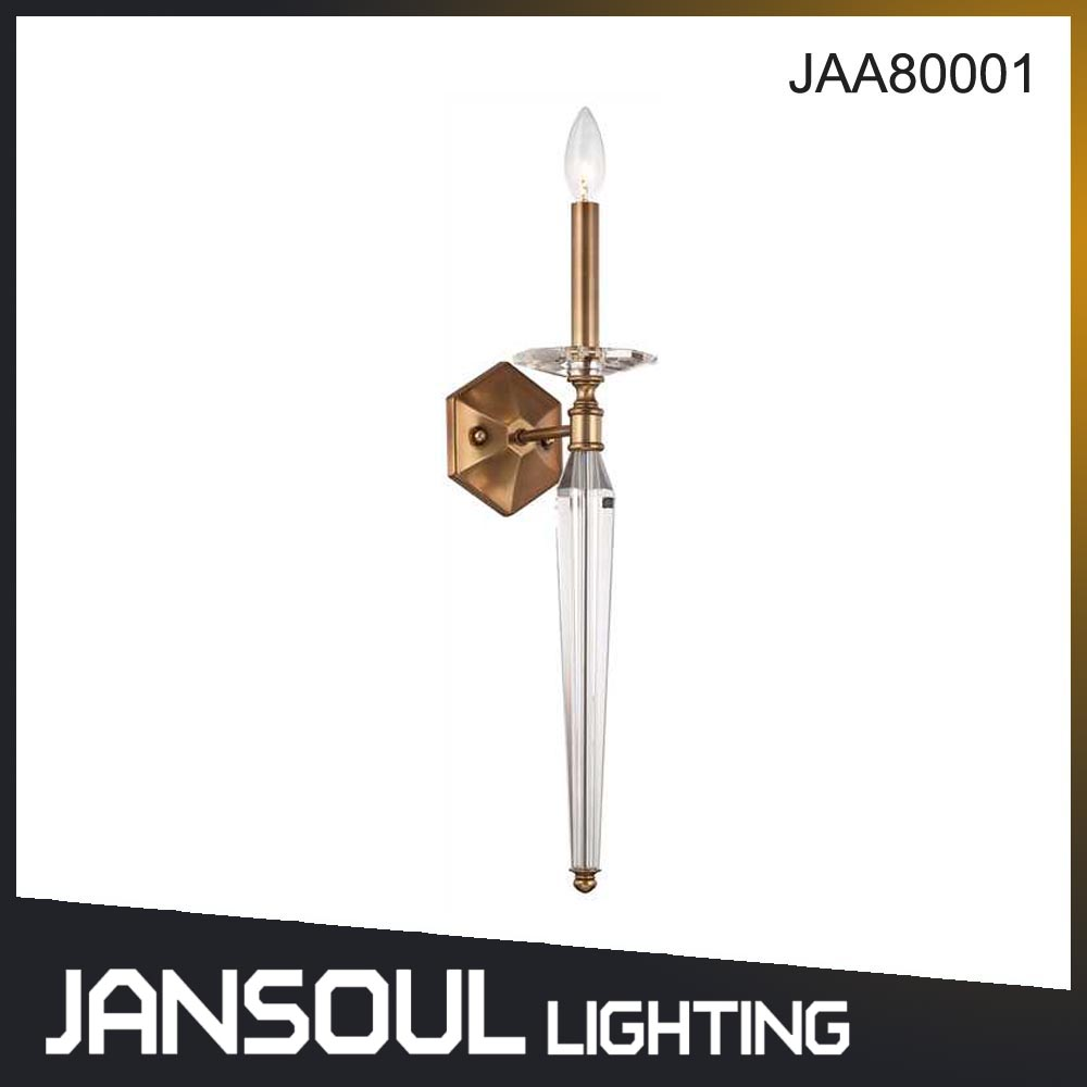 Zhongshan Jansoul Antique Brass Murano Glass Single Candle Wall Light Lamp for Decoration
