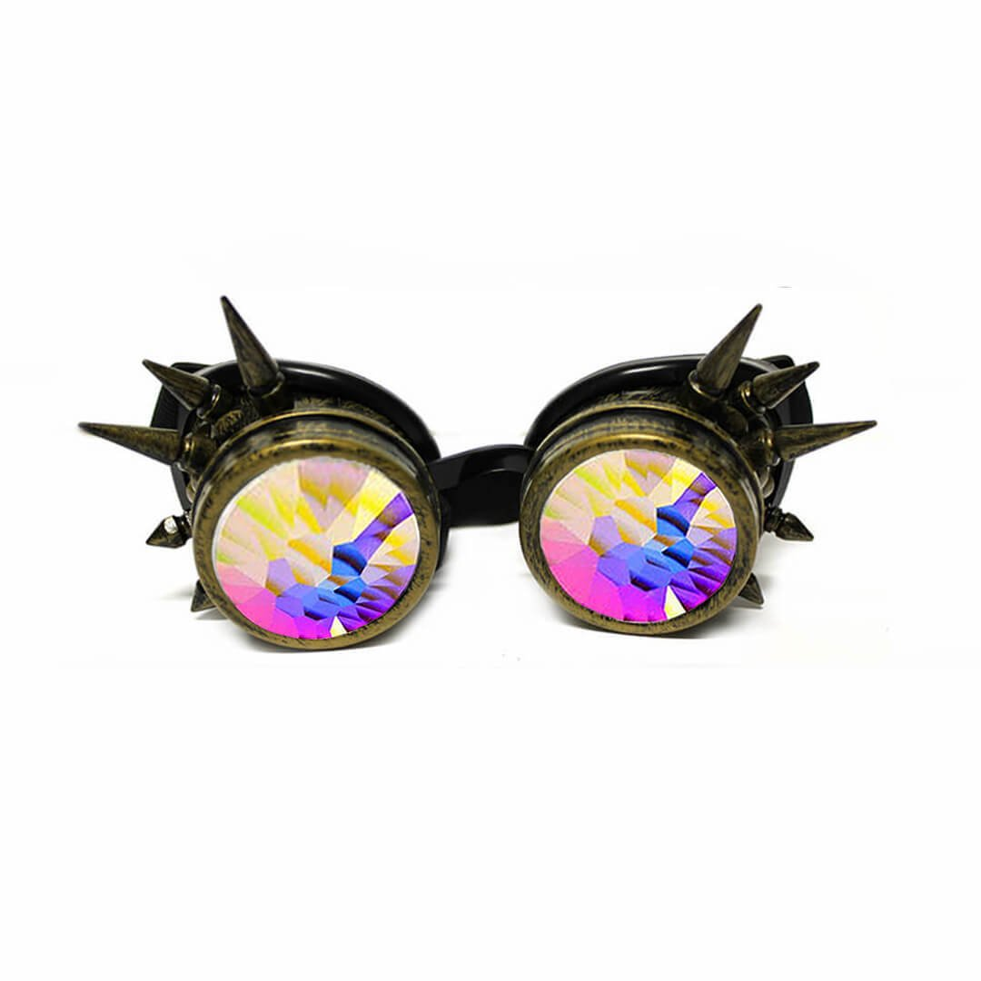 GloFX Spiked Kaleidoscope Goggles - Brass Copper Style Spike Crystal Kaleidoscope Prism Rave Goggles Spikes Spikey