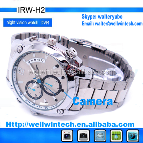 Factory outlet HD 1080P IR Night Vision waterproof Wrist Watch Camera DVR, watch camera with IR light and 8GB memory