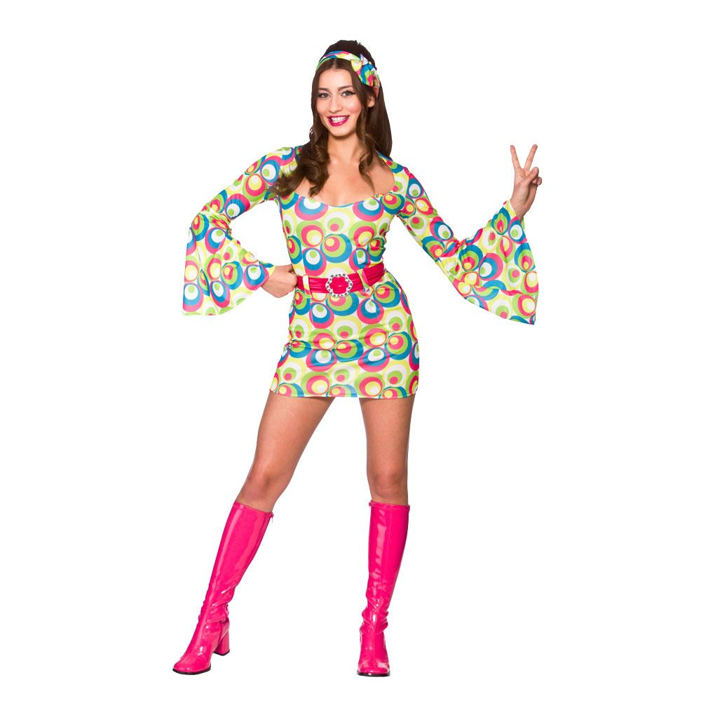 Ladies Hippie Girl Costume for 60s 70s Fancy Dress Cosplay Outfit