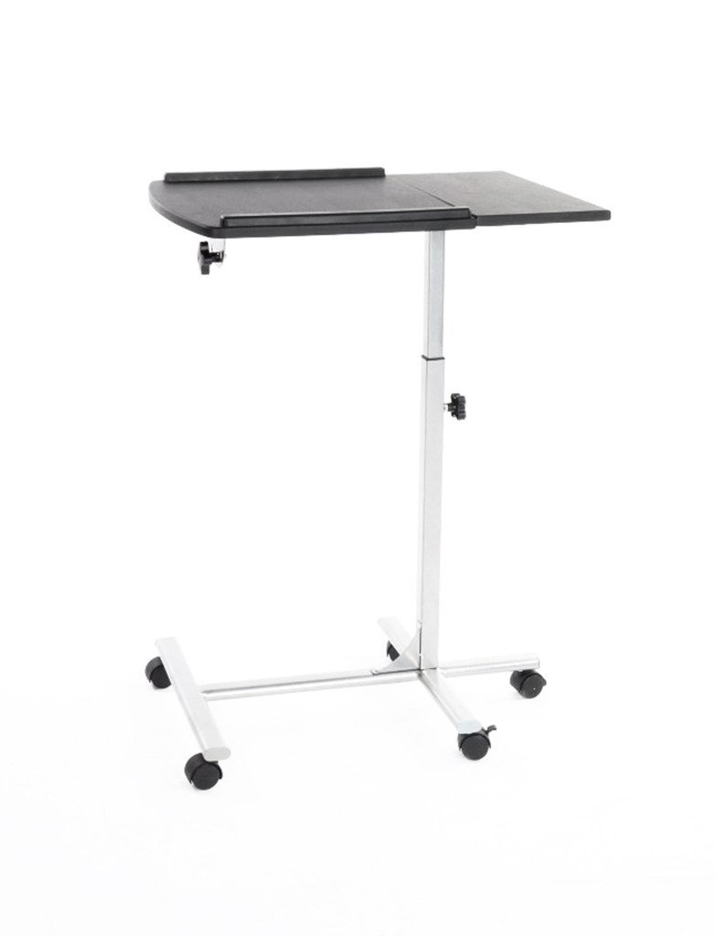 FurnitureR Classics Mobile Adjustable Rolling Computer Laptop Table Bed Tray Stand Cart Notebook Desk Black