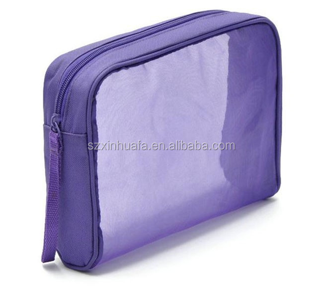 2016 New Zipper Transparent Pvc Cosmetic Bag Pouch With Piping