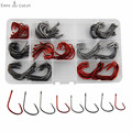 160pcs 7381 High Carbon Steel Fishing Hooks Black Red Sport Circle Bait Fishhooks Set With Box