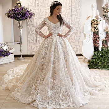2019 exquisite lace long sleeve wedding dress ball gown